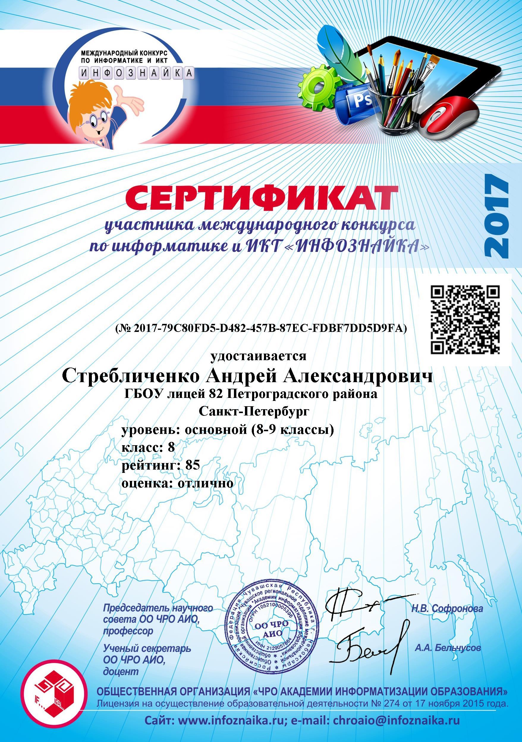 Сертификаты участников конкурса 2017